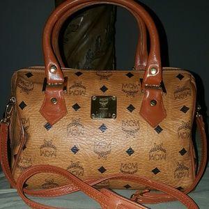 MCM Visetos Cognac mini Boston bag